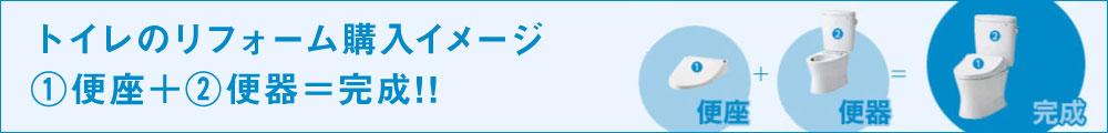 トイレのリフォーム購入イメージ①便座+②=完成